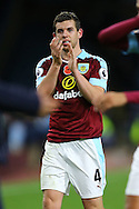 Jon Flanagan of Burnley shows his appreciation to the crowd at the final whistle. Premier League match, Burnley v Crystal Palace at Turf Moor in Burnley , Lancs on Saturday 5th November 2016.<br /> pic by Chris Stading, Andrew Orchard sports photography.