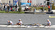 Poznan, POLAND, GBR LW4X , Bow Steph CULLEN, Laura GREENHALGH, Andrea DENNIS and Jane HALL exhausted after crossing the finishing line, second to collect the silver medal,  in the final of the lightweight women's quadruple scull at the 2009 FISA World Rowing Championships. held on the Malta Rowing lake, Sunday  30/08/2009  [Mandatory Credit. Peter Spurrier/Intersport Images]