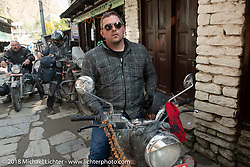 Danny Ochs on the main street of Tatopani before starting out on Day-7 of our Himalayan Heroes adventure riding from Tatopani to Pokhara, Nepal. Monday, November 12, 2018. Photography ©2018 Michael Lichter.
