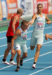 Erik Voncina as a fourth and Marko Macuh as a third Slovenian sprinter compete during  the 4x400m Mens Relay Heats during day five of the 20th European Athletics Championships at the Olympic Stadium on July 31, 2010 in Barcelona, Spain.  (Photo by Vid Ponikvar / Sportida)