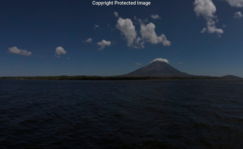 A Panorama from a ferry on Lake Nicaragua towards Ometepe Island in Nicaragua on Sunday, February 13th 2011.