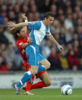 Photo: Back Page Images. 30/10/2004.<br /> Barclays Premiership. Blackburn Rovers v Liverpool. Ewood Park.<br />  Barry Ferguson and Milan Baros