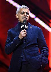 London Mayor Sadiq Khan speaks at Trafalgar Square in the lead up to the MTV European Music Awards, London. Photo credit should read: Doug Peters/EMPICS Entertainment