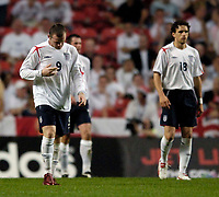 Fotball<br /> England 2005/2006<br /> Foto: SBI/Digitalsport<br /> NORWAY ONLY<br /> <br /> Danmark v England<br /> <br /> International Friendly. 17/08/2005.<br /> <br /> England stand shell shocked by the Danish onslaught.