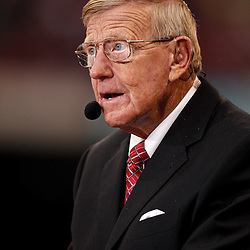 January 4, 2011; New Orleans, LA, USA;  ESPN television analysts Lou Holtz on the sideline at halftime of the 2011 Sugar Bowl between the Ohio State Buckeyes and the Arkansas Razorbacks at the Louisiana Superdome.  Mandatory Credit: Derick E. Hingle