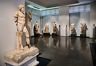 Interior of Aphrodisias Museum showing Roman statues from the archaeological site of Aphrodisias, , Aphrodisias, Turkey. .<br /> <br /> If you prefer to buy from our ALAMY STOCK LIBRARY page at https://www.alamy.com/portfolio/paul-williams-funkystock/greco-roman-sculptures.html . Type -    Aphrodisias     - into LOWER SEARCH WITHIN GALLERY box - Refine search by adding a subject, place, background colour, museum etc.<br /> <br /> Visit our ROMAN WORLD PHOTO COLLECTIONS for more photos to download or buy as wall art prints https://funkystock.photoshelter.com/gallery-collection/The-Romans-Art-Artefacts-Antiquities-Historic-Sites-Pictures-Images/C0000r2uLJJo9_s0