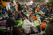 "People gets ready to spend the third night on the street in a place called Aske Gunea (The Free Space in basque language) supporting the 8 young persons who have been sentenced to six years in jail. They have been sentenced for having been members of the Basque pro-independence youth organization SEGI ('Keep on' in basque language). Donostia-San Sebastian (Basque Country) April, 16th 2013. As an arrest warrant was issued against them and they could be arrested any time, young supporters gathered them to prevent them from being arrested. The sentence stated: ""Membership to terrorist organization"". (Gari Garaialde/Bostok Photo)"