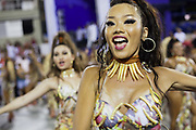Megumi Kudo, Salgueiro Samba School doing the final practice performance of their Carnival procession in the Sambadrome, Rio de Janeiro, Brazil