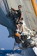 "29SEP09 Les Voiles De St Tropez 2009..Frano Tregaskis, bowman onboard the 1928 34m William Fife III build ""Cambria""."