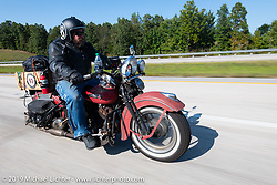 Richard Kaylor riding his 1948 Harley-Davidson Panhead in the Cross Country Chase motorcycle endurance run from Sault Sainte Marie, MI to Key West, FL (for vintage bikes from 1930-1948). Stage 4 saw a 315 mile ride from Urbana, IL to Bowling Green, KY USA. Monday, September 9, 2019. Photography ©2019 Michael Lichter.