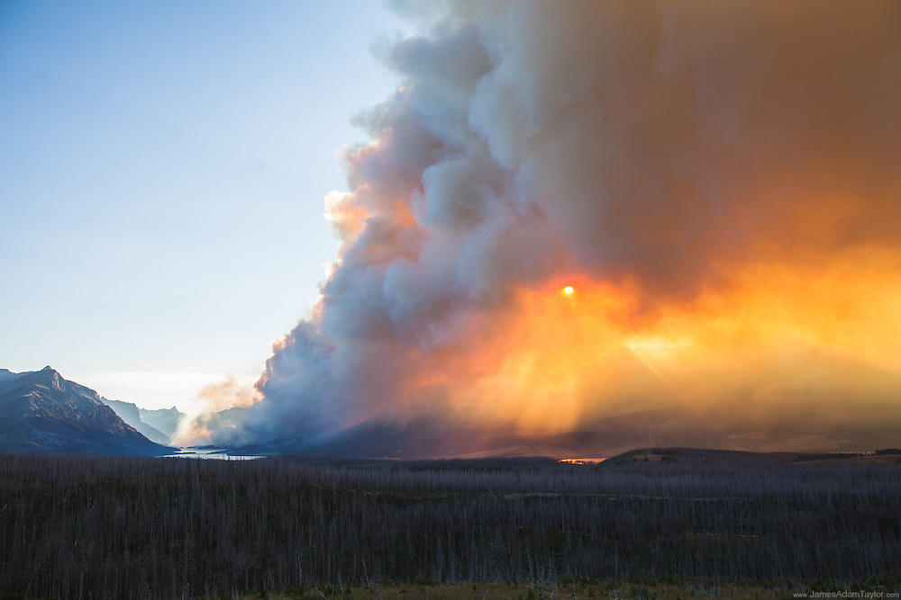 Reynolds Creek Fire in Glacier National Park as seen from Highway 89. Tuesday, July 21.