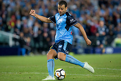 April 28, 2018 - Sydney, NSW, U.S. - SYDNEY, NSW - APRIL 28: Sydney FC forward Bobo (9) shoots at goal during the A-League Soccer Semi Final Match between Sydney FC and Melbourne Victory on April 28, 2018 at Allianz Stadium in Sydney, Australia. (Photo by Speed Media/Icon Sportswire) (Credit Image: © Speed Media/Icon SMI via ZUMA Press)
