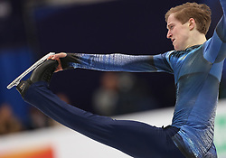 January 17, 2018 - Moscow, Russia - Figure skater Alexander Samarin of Russia performs his short program during a men's singles competition at the 2018 ISU European Figure Skating Championships, at Megasport Arena in Moscow, Russia  on January 17, 2018. (Credit Image: © Igor Russak/NurPhoto via ZUMA Press)