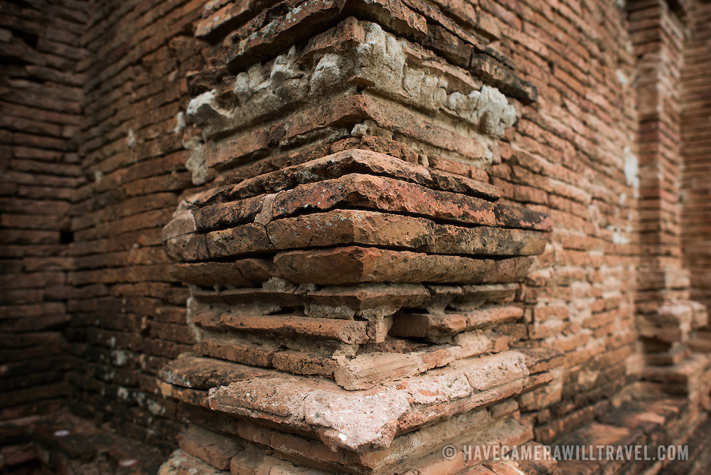 BAGAN, Myanmar (Burma) - The distinctive bricks used in construction of many of the pagodas of Bagan. Capital of the ancient Kingdom of Pagan, Bagan features thousands of temples and pagodas, some of which date back to the 9th century.