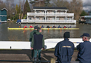 Molesey, Surrey. Crews boating and heading to the start to compete in the Molesey Veterans Head. Saturday  21/02/2015  [Mandatory Credit; Peter Spurrier/Intersport-images]
