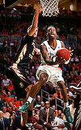 High scorer Miami (Fl) Hurricanes guard Sheldon McClellan (10) racks up 21 points as the University of Miami hosts Florida State University at BankUnited Center in Coral Gables on Saturday, January 9, 2016.