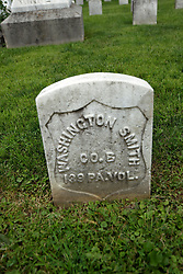 26 August 2017:   A part of the History of McLean County Illinois.<br /> <br /> Tombstones in Evergreen Memorial Cemetery.  Civic leaders, soldiers, and other prominent people are featured. Section 5, the old town soldiers area<br /> Washington Smith  Co B  139 PA Vol