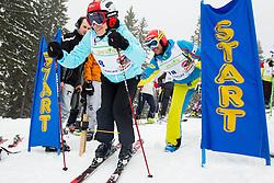 Simona Seliskar, wife of Andrej Jerman during last race of A.  Jerman, Slovenian best downhill skier when he finished his professional alpine ski career on April 6, 2013 in Krvavec Ski resort, Slovenia. (Photo By Vid Ponikvar / Sportida)