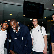 Turkish Basketball team Anadolu Efes's players seen during their Ataturk Airport in Istanbul Turkey on Thursday 23 October 2014. Photo by TURKPIX