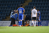 Football - 2020 / 2021 Sky Bet League One - Gillingham vs Accrington Stanley - Priestfield Stadium<br /> <br /> Dominic Samuel (Gillingham FC),  appears to be praying his injury is not too serious as he is placed on a stretcher <br /> <br /> <br /> COLORSPORT/DANIEL BEARHAM
