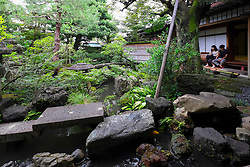 Nomura Samurai Family House garden in Nagamachi district of Kanazawa Japan