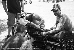 Atomic Trent Schara on Friday - for the builder-invite bike check-in for the Born-Free 6 Vintage Chopper and Classic Motorcycle Show. Silverado, CA. USA. June 27, 2014.  Photography ©2014 Michael Lichter.