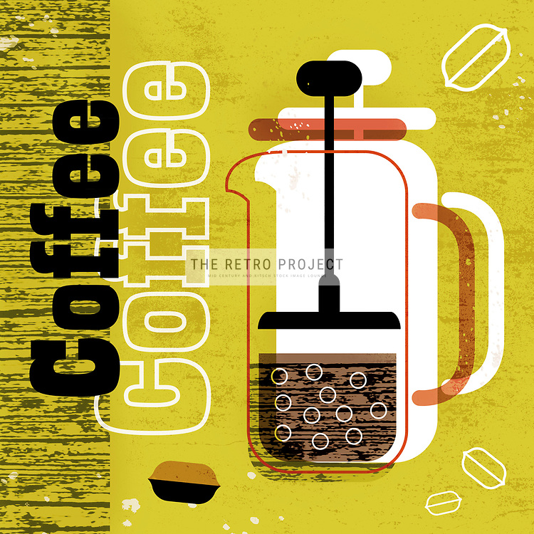 Coffee Cafetiere Beans retro illustration by Hedvig Desh gold, brown and black