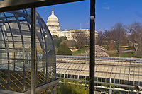 View of the United States Capitol from the U. S. Botanic Gardens conservatory, Washington D.C., U.S.A.