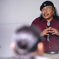 021314       Cable Hoover<br /> <br /> Kenneth Seowtewa talks about Zuni culture and history during a presentation at the Octavia Fellin Public Library in Gallup Thursday.