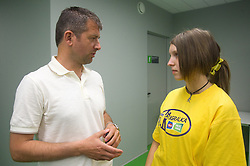 Dejan Djuranovic, 12th player ambassador of Domzale and Maja Zugec, 12th player of NK Domzale during press conference of Hervis Cup 2011, on May 23, 2011 in Stozice, Ljubljana, Slovenia. NK Domzale and NK Maribor will play in the Final of Hervis Cup 2011 at Stozice Stadium.  (Photo By Vid Ponikvar / Sportida.com)