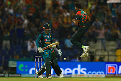 September 26, 2018 - Abu Dhabi, United Arab Emirates - Bangladesh cricketer Soumya Sarkar leaps in celebration after dismissing Pakistan's Shadab Khan during the Asia Cup 2018 cricket match  between Bangladesh and Pakistan at the Sheikh Zayed Stadium,Abu Dhabi, United Arab Emirates on September 26, 2018  (Credit Image: © Tharaka Basnayaka/NurPhoto/ZUMA Press)