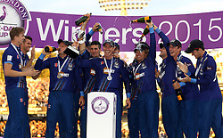 Gloucestershire's Michael Klinger lifts the Royal London One Day Cup Trophy - Mandatory byline: Robbie Stephenson/JMP - 07966 386802 - 19/09/2015 - Cricket - Lord's Cricket Ground - London, England - Gloucestershire CCC v Surrey CCC - Royal London One-Day Cup Final