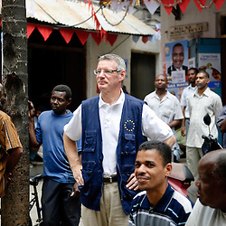 Stone Town, Zanzibar 03 November 2010.European Union Chief Observer David Martin visits a party meeting after the presidential election in Zanzibar..The European Union has launched an Election Observation Mission in Tanzania to monitor the general elections, responding to the Tanzanian government invitation to send observers for all aspects of the electoral process..The EU sent this observation mission led by Chief Observer David Martin, a member of the European Parliament. .PHOTO: Ezequiel Scagnetti / European Union
