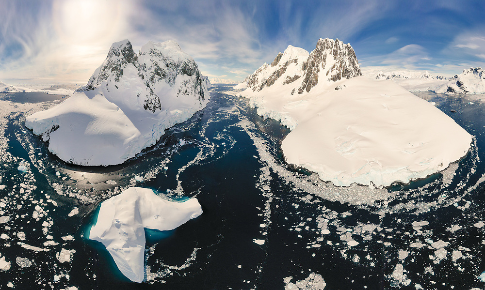 Panoramic view of Lemaire Channel, Antarctica