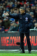 Brighton & Hove Albion Manager Chris Hughton watches on from the touchline. Premier league match, Tottenham Hotspur v Brighton & Hove Albion at Wembley Stadium in London on Wednesday 13th December 2017.<br /> pic by Steffan Bowen, Andrew Orchard sports photography.