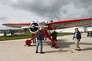 1936 Stinson SR-8B Reliant being prepared for first flight at WAAAM.