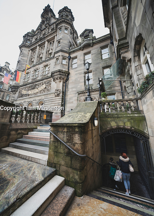 View of The Scotsman building and Scotsman Steps in Edinburgh Old town, Scotland UK