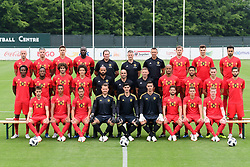 June 5, 2018 - Tubize, BELGIUM - (upper L-R) Belgium's Laurent Ciman, Belgium's Toby Alderweireld, Belgium's Leander Dendoncker, Belgium's Romelu Lukaku, Belgium's goalkeeper coach Inaki Bergara, Belgium's head of team Richard Evans, Belgium's goalkeeper coach Erwin Lemmens, Belgium's Jan Vertonghen, Belgium's Thomas Meunier, Belgium's Nacer Chadli, (middle L-R) Belgium's Dedryck Boyata, Belgium's Michy Batshuayi, Belgium's Marouane Fellaini, Belgium's Axel Witsel, Belgium's assistant coach Thierry Henry, Belgium's head coach Roberto Martinez, Belgium's assistant coach Graeme Jones, Belgium's Vincent Kompany, Belgium's Mousa Dembele, Belgium's Thomas Vermaelen, Belgium's Yannick Carrasco, (lower L-R) Belgium's Adnan Januzaj, Belgium's Youri Tielemans, Belgium's Eden Hazard, Belgium's goalkeeper Simon Mignolet, Belgium's goalkeeper Thibaut Courtois, Belgium's goalkeeper Koen Casteels, Belgium's Dries Mertens, Belgium's Thorgan Hazard and Belgium's Kevin De Bruyne pose for the photographer during the official team photo of the Belgian national soccer team Red Devils, Tuesday 05 June 2018, in Tubize. The Red Devils started their preparations for the upcoming FIFA World Cup 2018 in Russia. BELGA PHOTO POOL NICO VEREECKEN (Credit Image: © Pool Nico Vereecken/Belga via ZUMA Press)