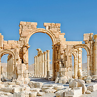 Palmyra. Syria.  View of the front of the Monumental Arch which was erected in the early third century AD under Septimius Severus in order to disguise the thirty degree a change of direction of the first and second sections of the Great Colonnade.