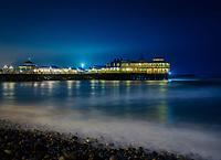 LIMA, PERU - CIRCA SEPTEMBER 2019: Restaurant La Rosa Nautica and pier over the Pacific Ocean in Lima Peru.