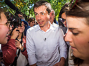 13 AUGUST 2019 - DES MOINES, IOWA: PETE BUTTIGIEG walks through the crowd at the Iowa State Fair. Buttigieg, the Mayor of South Bend, Indiana, is running to be the Democratic nominee for the US presidency. He spoke at the Des Moines Register Political Soap Box at the Iowa State Fair and then toured the fairgrounds. Iowa has the first event of the presidential selection cycle. The Iowa Caucuses are February 3, 2020.               PHOTO BY JACK KURTZ