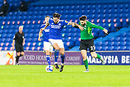 Cardiff City's Marlon Pack (21) holds off the challenge of Birmingham City's Jon Toral (23) during the EFL Sky Bet Championship match between Cardiff City and Birmingham City at the Cardiff City Stadium, Cardiff, Wales on 16 December 2020.