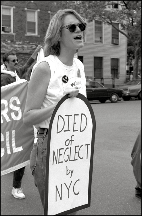 Marion Banzhaf of ACT UP NY joins People Alliance Community Organization Inc., in June of 1989, to protest James Bufford, the executive director of the Kings County Hospital Center, NYC Mayor Ed Koch regarding healthcare discrimination and lack of affordable healthcare for people of color and people with AIDS.