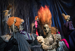 © Licensed to London News Pictures. 01/11/2016. London, UK. A display of mannequins dressed in Vivienne Westwood at the 'Hair by Sam McKnight' exhibition at Somerset House. The show, which runs from 2nd November, 2016 to 12th March, 2017, celebrates the career of fashion's favourite hair stylist. Photo credit: Peter Macdiarmid/LNP