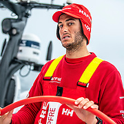 Leg 9, from Newport to Cardiff, day 08 on board MAPFRE, Blair Tuke showing wierd faces to the camera. 27 May, 2018.
