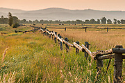 A split rail fence at the T.A Moulton barn in the Mormon Row Historic District along Antelope Flats at Grand Teton National Park, Wyoming.