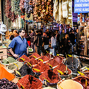 Assorted herbs and spices on sale at a shop next to the Spice Bazaar (also known as the Egyption Bazaar) in Istanbul, Turkey.