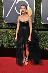 Jamie Chung at the 75th Golden Globe Awards held at the Beverly Hilton in Beverly Hills, CA on January 7, 2018.<br /><br />(Photo by Sthanlee Mirador)