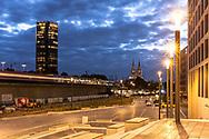 view from the MesseCity in the district Deutz to the station Deutz, the CologneTriangle high-rise building and the cathedral, Cologne, Germany.<br /> <br /> Blick von der MesseCity im Stadtteil Deutz zum Bahnhof Deutz, KoelnTriangle Hochhaus und zum Dom, Koeln, Deutschland.