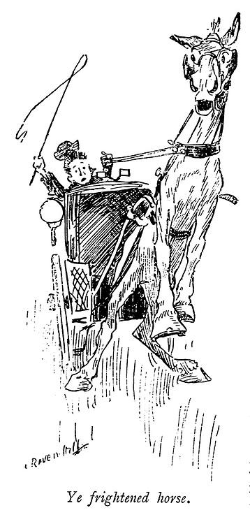 Ye Frightened Horse from the book ' Three men on the bummel ' Illustrated by L. Raven Hill written by Jerome, Jerome K. (Jerome Klapka), 1859-1927. Publisher Bristol [Eng.] J.W. Arrowsmith 1900